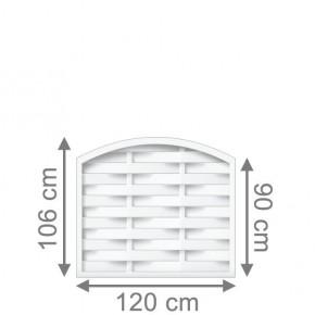 TraumGarten Sichtschutzzaun Longlife Romo Rundbogen weiß - 120 x 90 (106) cm