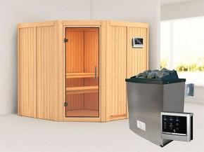 Karibu 68mm Systembausauna Jarin - Eckeinstieg - Ganzglastür klar - ohne Dachkranz - 9kW Saunaofen mit externer Steuerung Easy