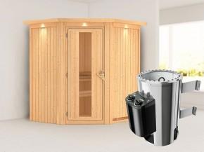 Karibu 68mm Systemsauna Tonja - Plug&Play - Eckeinstieg - Energiespartür - mit Dachkranz - 3,6kW Plug&Play Saunaofen mit integr. Steuerung