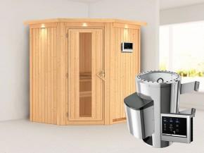 Karibu 68mm Systemsauna Tonja - Plug&Play - Eckeinstieg - Energiespartür - mit Dachkranz - 3,6kW Plug&Play Saunaofen mit externer Steuerung Easy