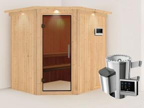 Karibu 68mm Systemsauna Lilja - Plug&Play - Eckeinstieg - Ganzglastür graphit - mit Dachkranz - 3,6kW Plug&Play Saunaofen mit externer Steuerung Easy