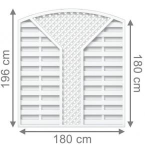 TraumGarten Sichtschutzzaun Longlife Romo Rundbogen mit V-Gitter weiß - 180 x 180 (196) cm