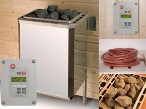 WEKA Sauna Ofenset 5 - 4,5 kW (230 Volt) inkl. Kabel, Steuerung, Steine - Klassisch - Dampfbad-Sauna-Kombi