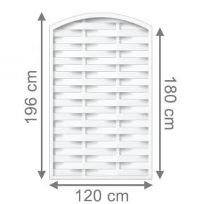 TraumGarten Sichtschutzzaun Longlife Romo Rundbogen weiß - 120 x 180 (196) cm