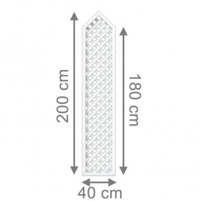 TraumGarten Rankgitter Kunststoff Longlife Rechteck mit Spitze weiß - 40 x 180 (200) cm