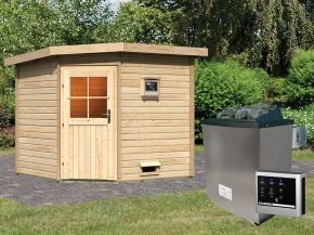 Woodfeeling 38 mm Saunahaus Hilda - naturbelassen - Eckhaus - 9kW Saunaofen mit externer Steuerung Easy