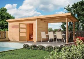 Woodfeeling 38 mm Massivholz Sauna Schleppdach für Suva 2+3 Gartensauna Anbau