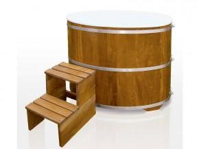 Sauna Tauchbecken aus Kambalaholz natur mit Kunststoff-Einsatz und Abdeckung