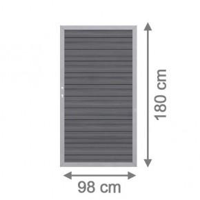 TraumGarten Sichtschutzzaun System WPC Platinum Tor DIN links grau / silber - 98 x 180 cm