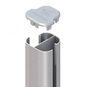 TraumGarten Zaunpfosten System Eck-Steckpfosten Set silber zum Aufschrauben - 7 x 7 x 192 cm
