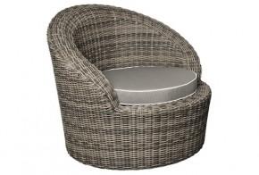Rattan Sessel Rollo Sessel inkl. Kissen - Farbe: braun-meliert