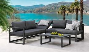 Best Lounge-Gruppe Rhodos 3-tlg. - 212x212 cm - Aluminium/Sensotex - anthrazit/anthrazit- verstellbares Kopfelement