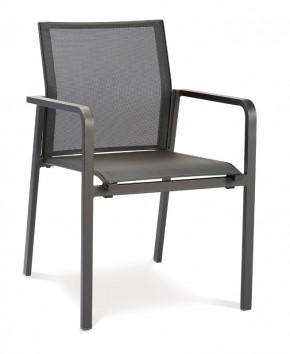 Best Stapelsessel Rhodos - Dining-Sessel mit Alu-Armlehne - Aluminium/Ergotex in anthrazit/anthrazit