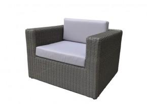 Rattan Loungeelement Turino Sessel - Farbe: dunkelgrau/grau