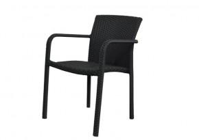 Rattan Stapelsessel Gartenstuhl Malaga - Farbe: schwarz