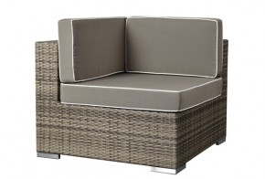Rattan XXL Loungemöbel Espace Ecksofa - Farbe: grau braun meliert