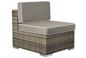 Rattan XXL Loungemöbel  Espace Mittelsofa - Farbe: grau braun meliert