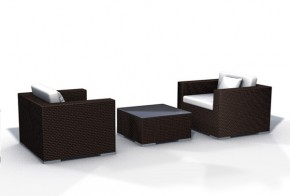 Rattan XXL Loungemöbel Set Espace Start 3 - 3-teilig - Farbe: dunkelbraun