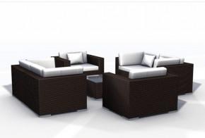 Rattan XXL Loungemöbel Einzelelement Espace Luxus Start 4 - 6 Sitze inkl. Kissen - Farbe: Dunkelbraun