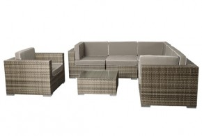 Rattan XXL Loungemöbel Set Espace 6 - 7-teilig - Farbe: grau braun meliert