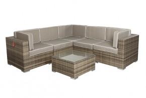 Rattan XXL Loungemöbel Set Espace 7 - 6-teilig - Farbe: grau braun meliert