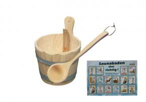 Sauna Kübel für Aufguss 3 Liter inkl. Holzkelle - Holzkübel - Saunabottich