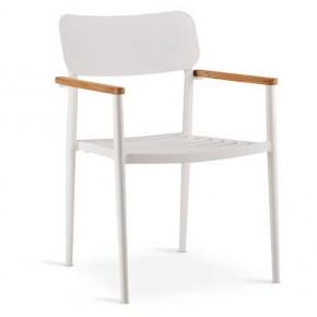 Best Stapel-Sessel Dakar mit Teakholz-Armlehnen, 56 x 59 x 84 cm weiß teak